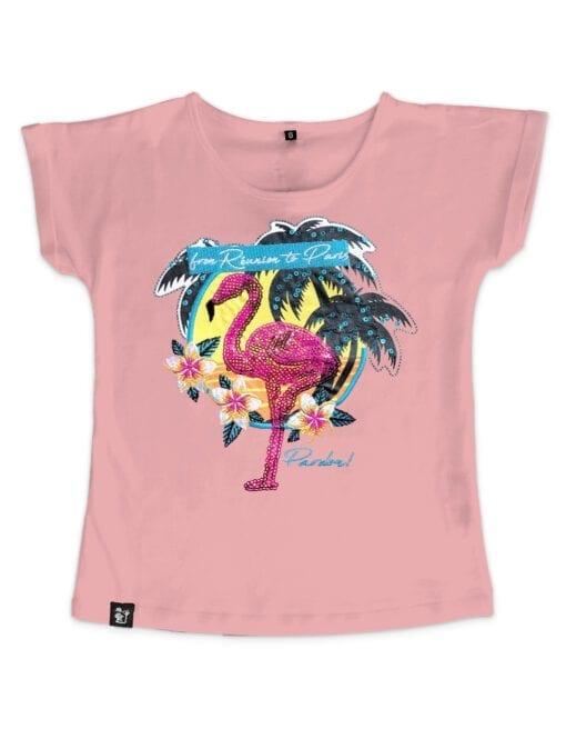 t-shirt fille reun to paris rose