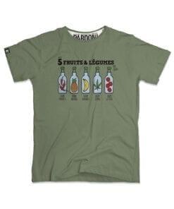 t-shirt 5 fruits et légumes kaki