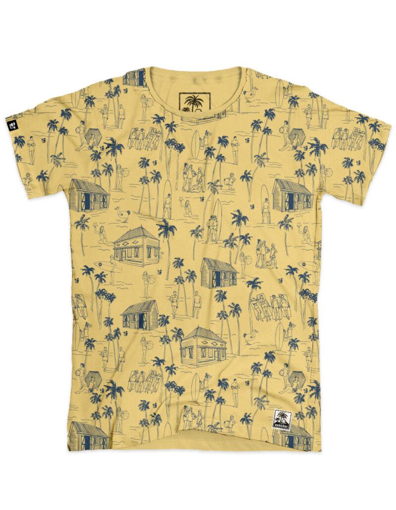 yellow aop surf men's t-shirt