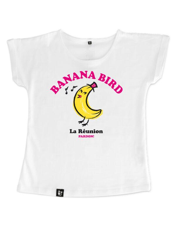 t-shirt fille banana bird blanc