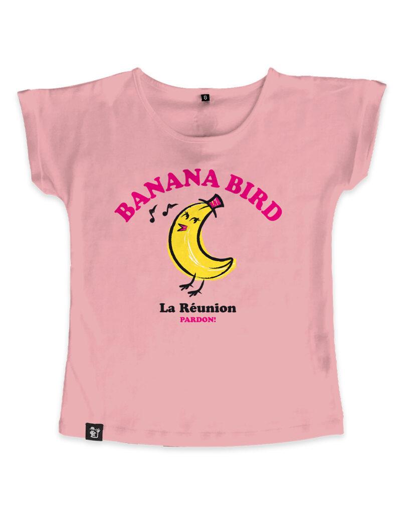 t-shirt fille banana bird rose