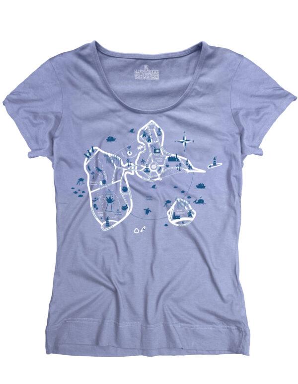 t-shirt femme guadeloupe map bleu clair