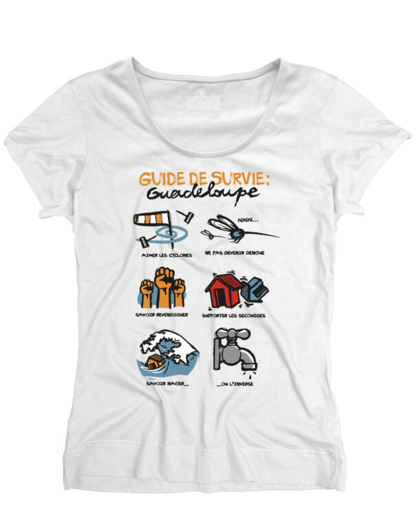 t-shirt femme guide survive guadeloupe blanc