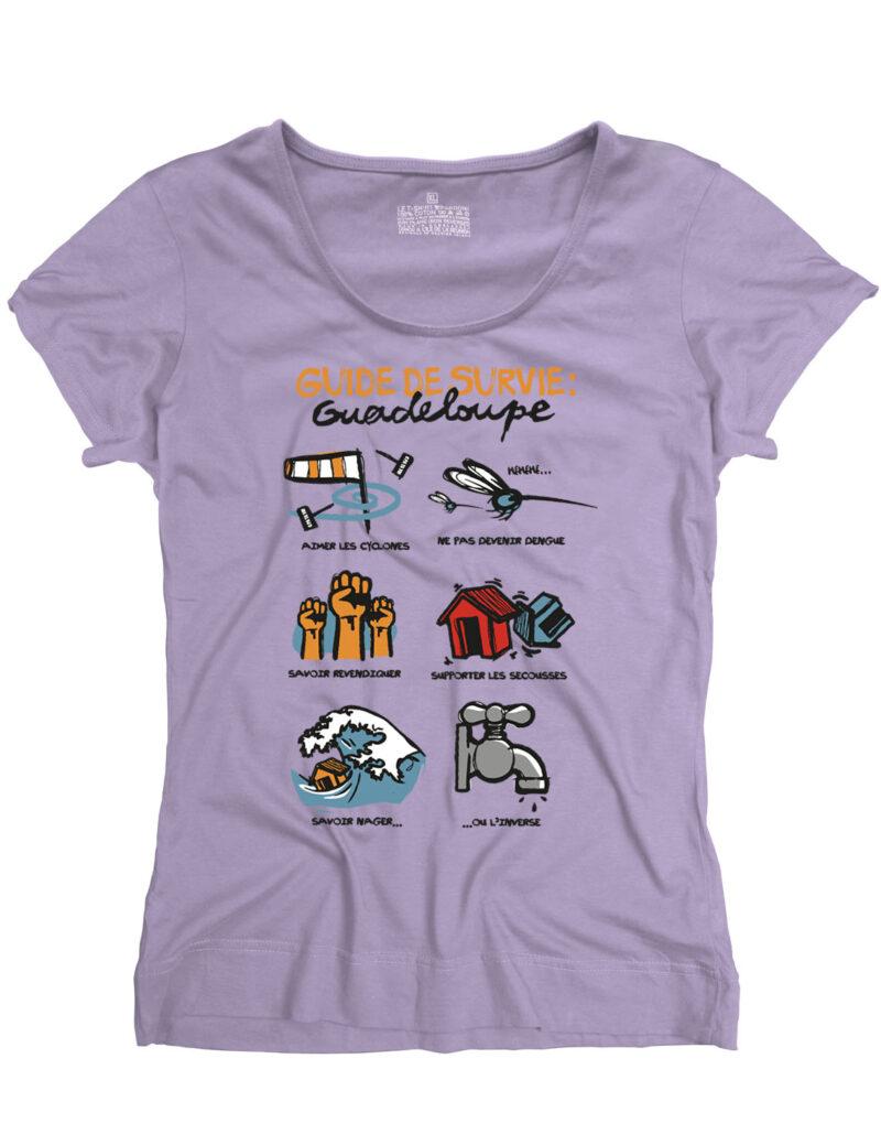 t-shirt femme guide survive guadeloupe mauve