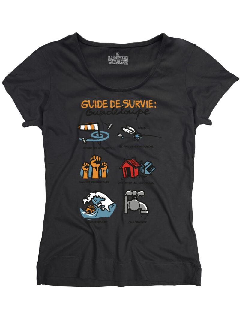 t-shirt femme guide survive guadeloupe noir