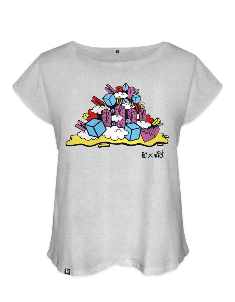 t-shirt femme vast love gris