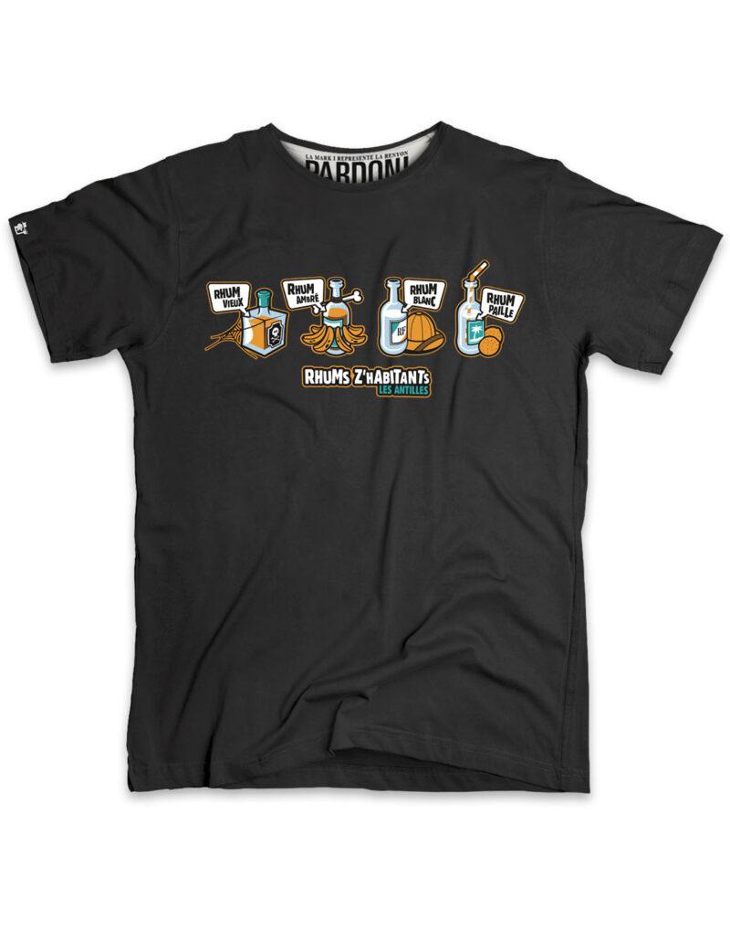 t-shirt homme rhum zabitant noir